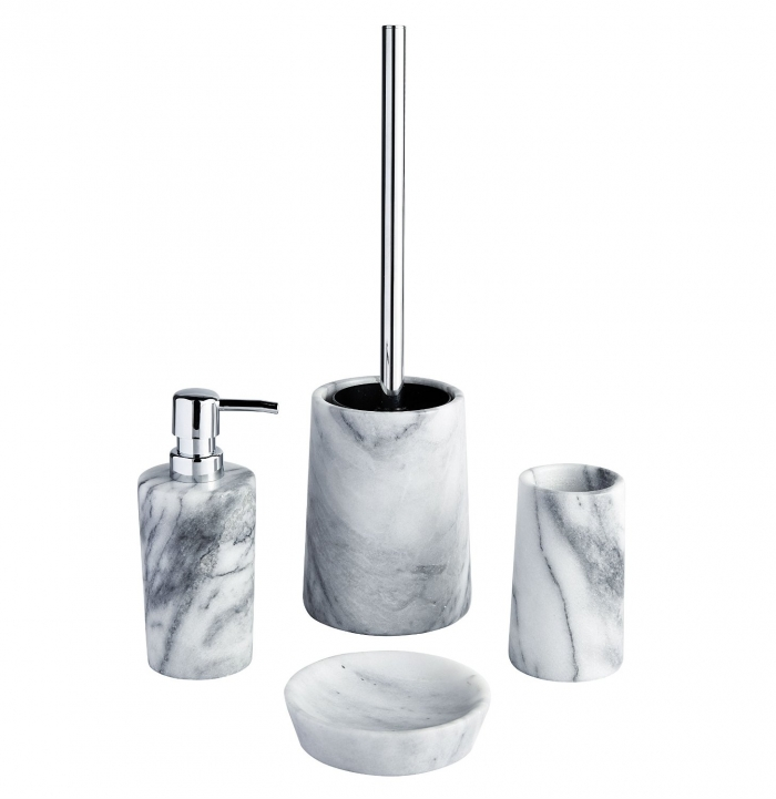 Showerdrape athena white marble bathroom accessories for White bathroom tumbler
