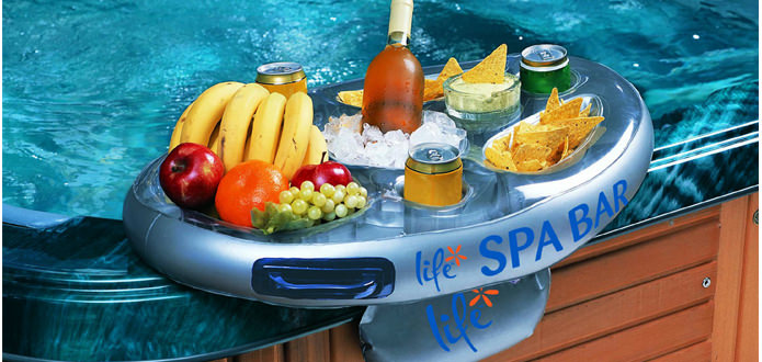 Life inflatable spa bar drinks holder snack tray hot for Bar gonflable piscine